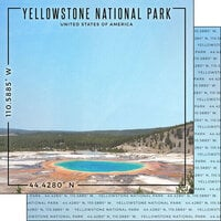 Scrapbook Customs - World Site Coordinates Collection - 12 x 12 Double Sided Paper - USA - Yellowstone NP