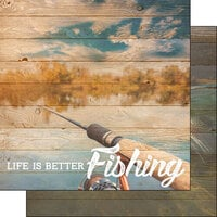 Scrapbook Customs - Life Is Better Collection - 12 x 12 Double Sided Paper - Fishing