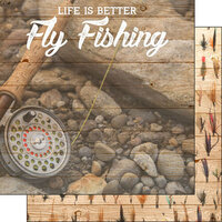 Scrapbook Customs - Life Is Better Collection - 12 x 12 Double Sided Paper - Fly Fishing
