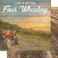 Scrapbook Customs - Life Is Better Collection - 12 x 12 Double Sided Paper - 4 Wheeling