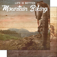 Scrapbook Customs - Life Is Better Collection - 12 x 12 Double Sided Paper - Mountain Biking