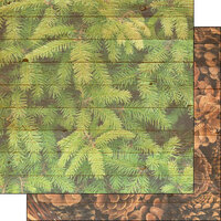 Scrapbook Customs - 12 x 12 Double Sided Paper - Pine Tree and Cone Background
