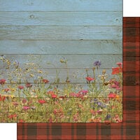 Scrapbook Customs - 12 x 12 Double Sided Paper - Wildflowers and Plaid Background
