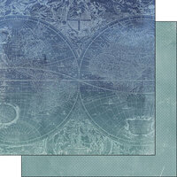 Scrapbook Customs - Museum Collection - 12 x 12 Double Sided Paper - Blue Background