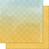 Scrapbook Customs - Museum Collection - 12 x 12 Double Sided Paper - Yellow Background