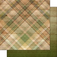Scrapbook Customs - 12 x 12 Double Sided Paper - Green Plaid Background