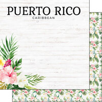 Scrapbook Customs - Vacay Collection - 12 x 12 Double Sided Paper - Puerto Rico