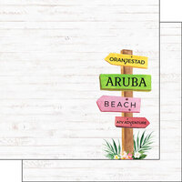 Scrapbook Customs - Vacay Collection - 12 x 12 Double Sided Paper - Aruba Sign