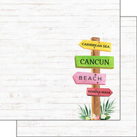 Scrapbook Customs - Vacay Collection - 12 x 12 Double Sided Paper - Cancun Sign