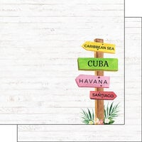 Scrapbook Customs - Vacay Collection - 12 x 12 Double Sided Paper - Cuba Sign