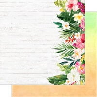 Scrapbook Customs - Vacay Collection - 12 x 12 Double Sided Paper - Floral Edge