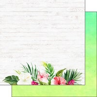 Scrapbook Customs - Vacay Collection - 12 x 12 Double Sided Paper - Floral Bottom