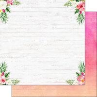 Scrapbook Customs - Vacay Collection - 12 x 12 Double Sided Paper - Floral Corners