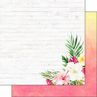 Scrapbook Customs - Vacay Collection - 12 x 12 Double Sided Paper - Floral Side