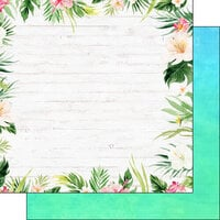 Scrapbook Customs - Vacay Collection - 12 x 12 Double Sided Paper - Floral Border