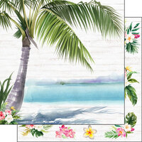 Scrapbook Customs - Vacay Collection - 12 x 12 Double Sided Paper - Palm Tree and Flowers