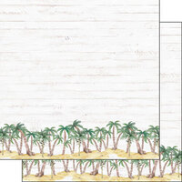 Scrapbook Customs - Vacay Collection - 12 x 12 Double Sided Paper - Palm Border
