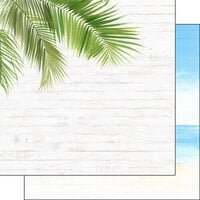 Scrapbook Customs - Vacay Collection - 12 x 12 Double Sided Paper - Corner Frond and Beach Left