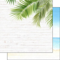 Scrapbook Customs - Vacay Collection - 12 x 12 Double Sided Paper - Corner Frond and Beach Right