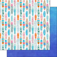Scrapbook Customs - Vacay Collection - 12 x 12 Double Sided Paper - Surf Boards