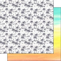 Scrapbook Customs - Vacay Collection - 12 x 12 Double Sided Paper - Palm Trees and Rainbow