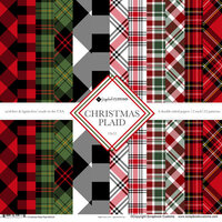 Scrapbook Customs - 12 x 12 Paper Pack - Christmas Plaid