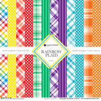 Scrapbook Customs - 12 x 12 Paper Pack - Rainbow Plaid