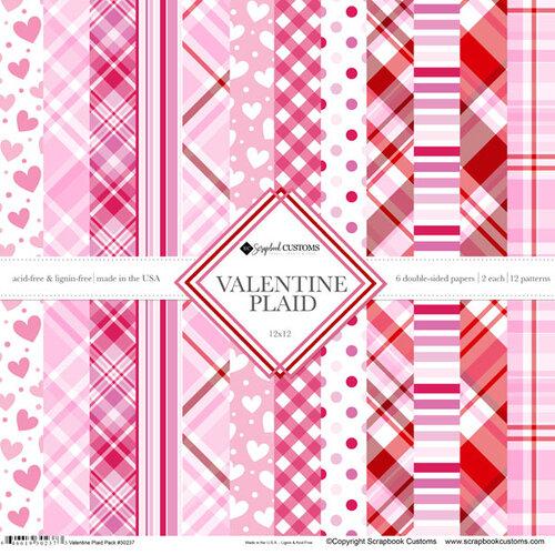 Scrapbook Customs - 12 x 12 Paper Pack - Valentine Plaid