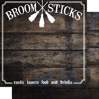 Scrapbook Customs - Wizarding World Collection - 12 x 12 Double Sided Paper - Broom Sticks