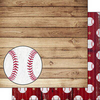 Scrapbook Customs - 12 x 12 Double Sided Paper - Baseball on Wood