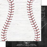 Scrapbook Customs - 12 x 12 Double Sided Paper - Baseball White Wood