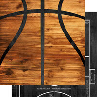 Scrapbook Customs - 12 x 12 Double Sided Paper - Basketball Wood