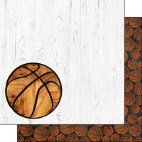 Scrapbook Customs - 12 x 12 Double Sided Paper - Basketball On White Wood