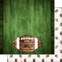 Scrapbook Customs - 12 x 12 Double Sided Paper - Football Wood - Colored