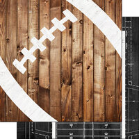 Scrapbook Customs - 12 x 12 Double Sided Paper - Football Wood