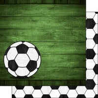 Scrapbook Customs - 12 x 12 Double Sided Paper - Soccer Wood - Colored