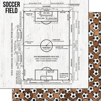 Scrapbook Customs - 12 x 12 Double Sided Paper - Soccer Wood Field Diagram
