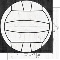 Scrapbook Customs - 12 x 12 Double Sided Paper - Volleyball Wood Ball