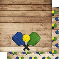 Scrapbook Customs - 12 x 12 Double Sided Paper - Pickleball On Wood