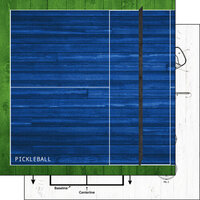 Scrapbook Customs - 12 x 12 Double Sided Paper - Pickleball On White Wood
