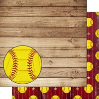Scrapbook Customs - 12 x 12 Double Sided Paper - Softball On Wood