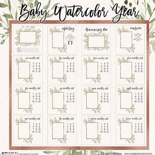 Scrapbook Customs - 12 x 12 Paper Pack - Baby Watercolor Year