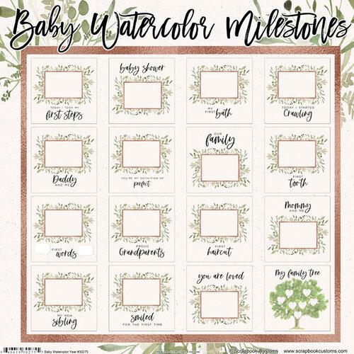 Scrapbook Customs - 12 x 12 Paper Pack - Baby Watercolor Milestones
