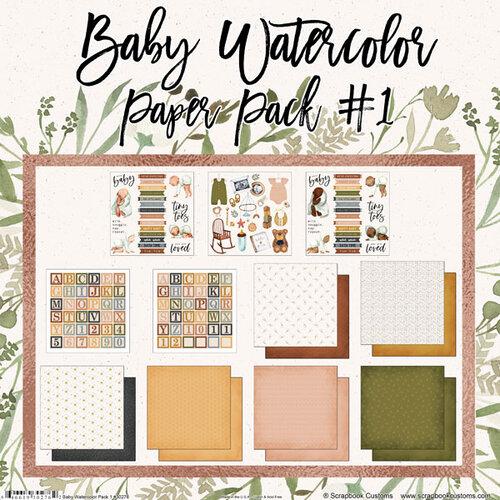 Scrapbook Customs - 12 x 12 Paper Pack - Baby Watercolor Pack 1