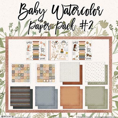 Scrapbook Customs - 12 x 12 Paper Pack - Baby Watercolor Pack 2