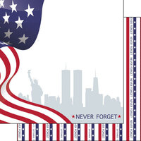 Scrapbook Customs - 12 x 12 Double Sided Paper - September 11th Never Forget Stars and Stripes
