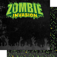 Scrapbook Customs - Halloween - 12 x 12 Double Sided Paper - Zombie Invasion