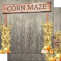 Scrapbook Customs - Halloween - 12 x 12 Double Sided Paper - Corn Maze Sign
