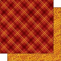 Scrapbook Customs - Magical Witch and Wizard Collection - 12 x 12 Double Sided Paper - Red and Gold Plaid