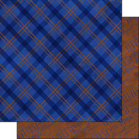 Scrapbook Customs - Magical Witch and Wizard Collection - 12 x 12 Double Sided Paper - Blue and Bronze Plaid